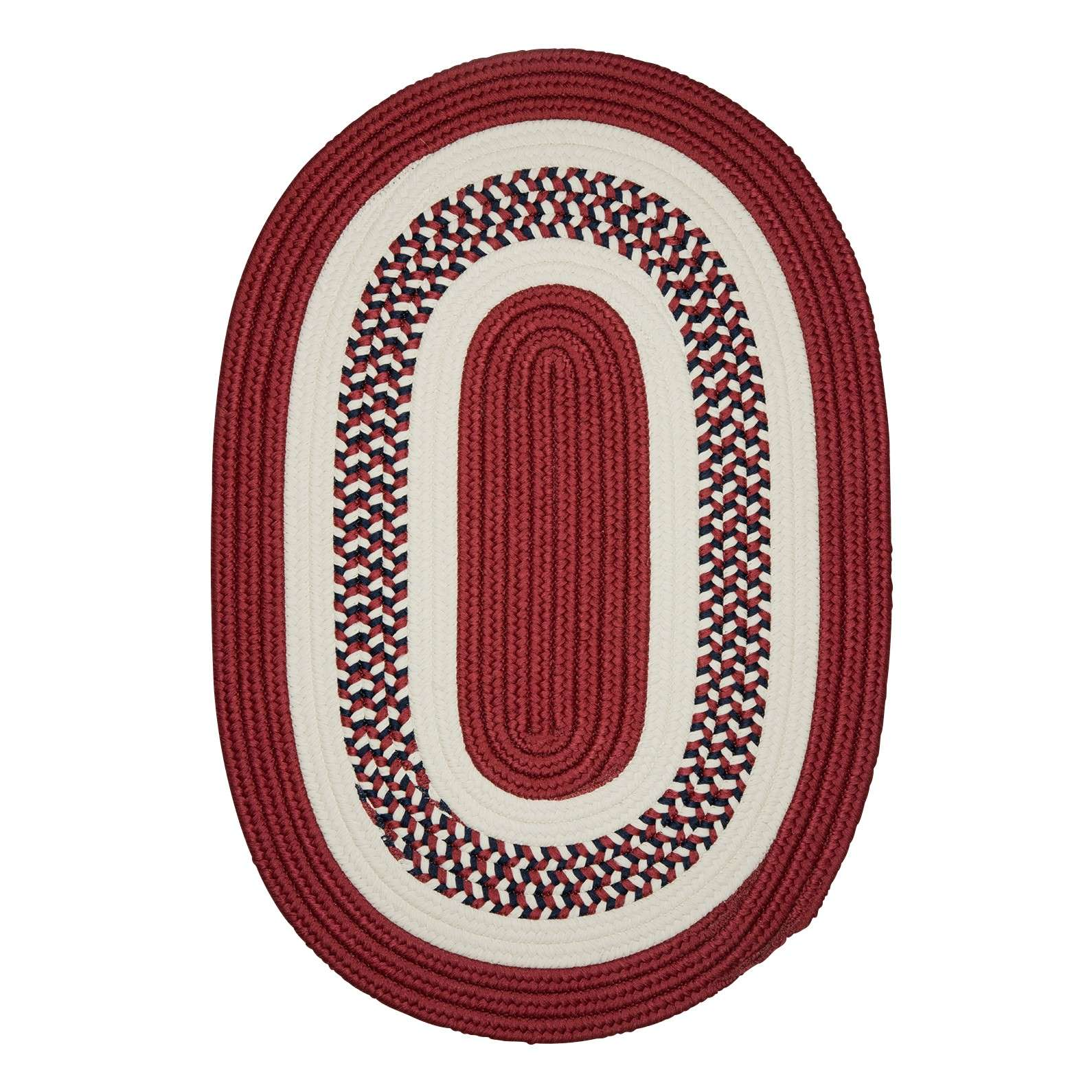 Flowers Bay Patriot Red 3'x5' Oval Rug