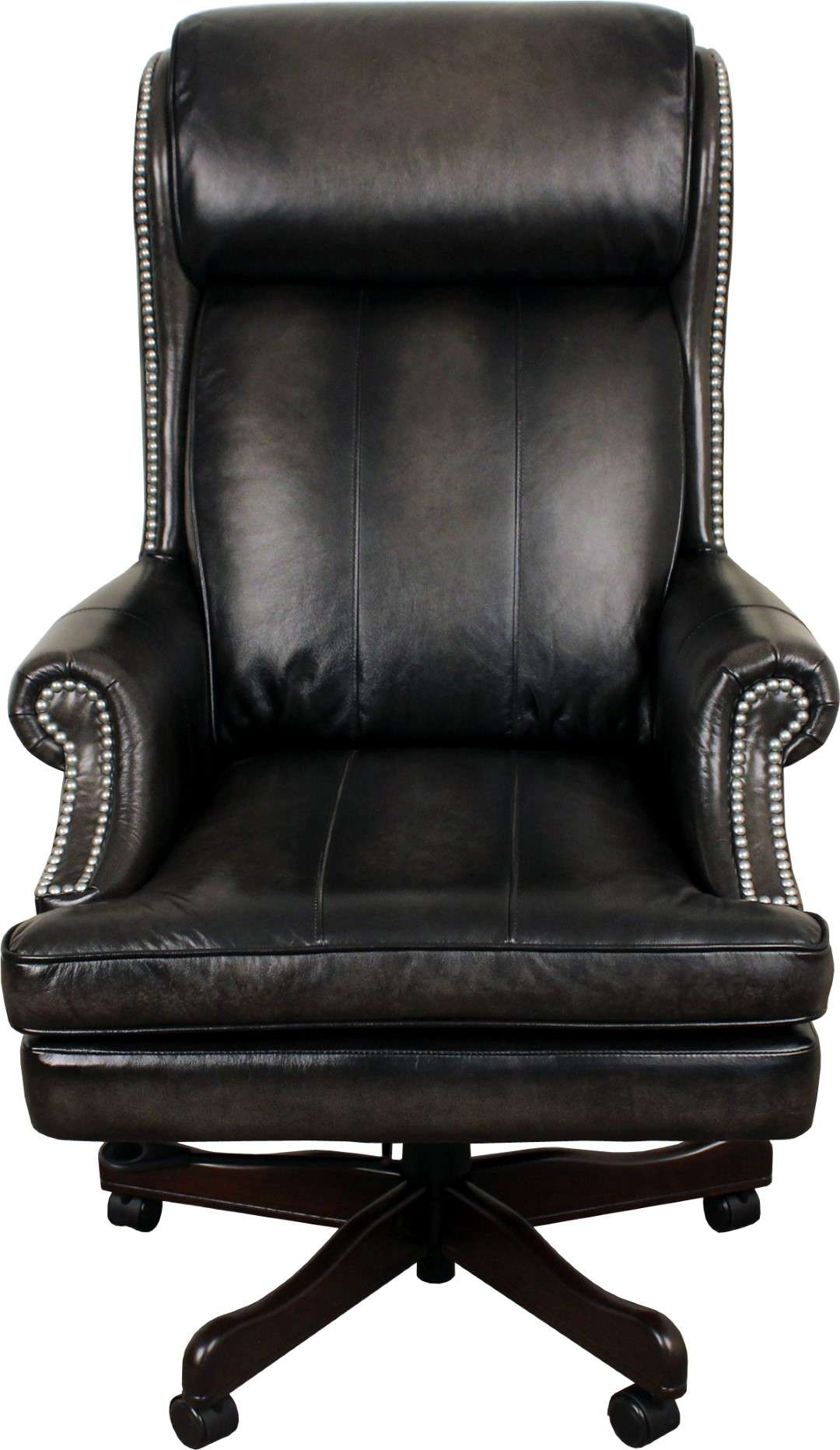 Prestige Smoke Leather Desk Chair with Black Base