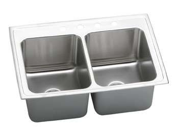 Gourmet Drop In/Self Rimming Steel Kitchen Sink DLR3322121 Lustertone (with 1 Faucet Holes)