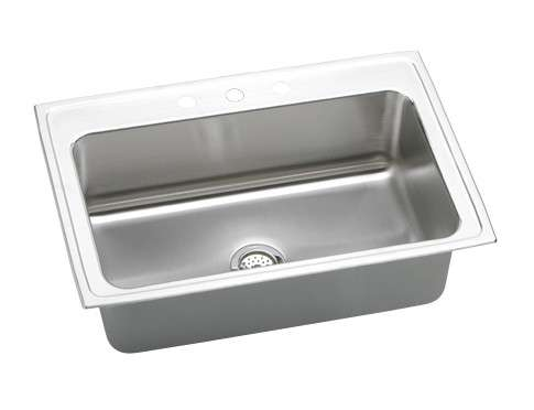 Gourmet Drop In Steel Kitchen Sink DLRS332210MR2 Lustertone (with 2 Faucet Holes)