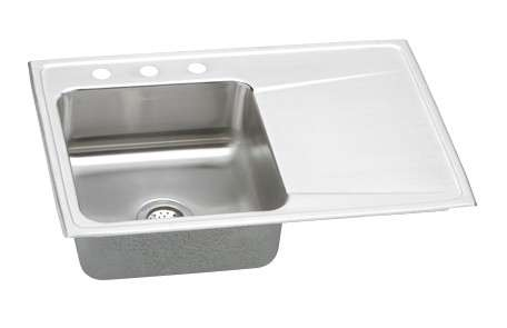 Gourmet Drop In/Self Rimming Steel Kitchen Sink ILR3322R1 Lustertone (with 1 Faucet Holes)