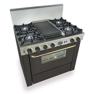 """36"""" Black Dual Fuel Natural Gas Double Sided Grill/Griddle Open Burner Range with Brass Trim - Convection"""