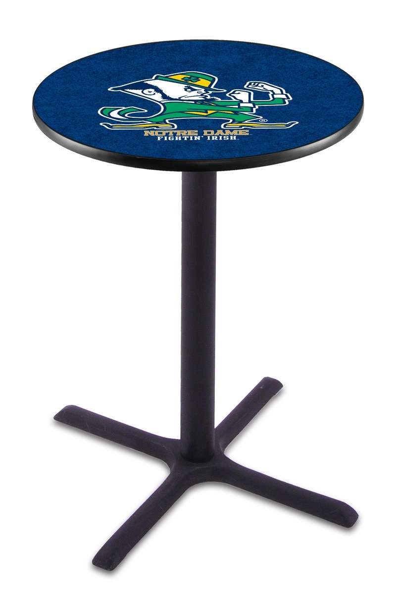 "36"" Black Wrinkle Notre Dame (Leprechaun) Pub Table with X-Style Base"