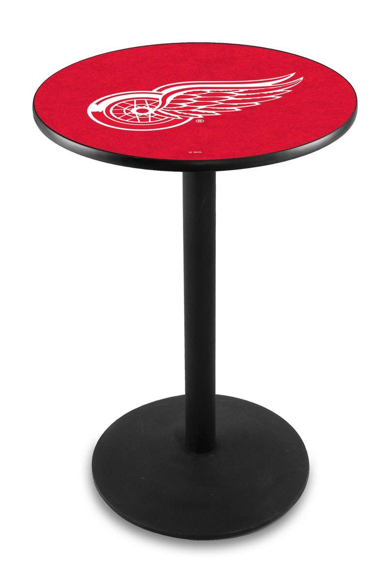 """36"""" Black Wrinkle Detroit Red Wings Pub Table with Round Base"""