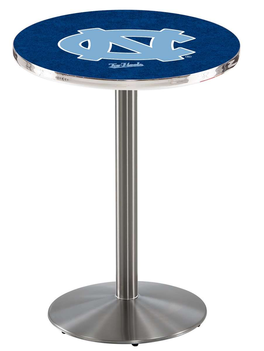 """36"""" Stainless Steel University of North Carolina Pub Table with Round Base"""