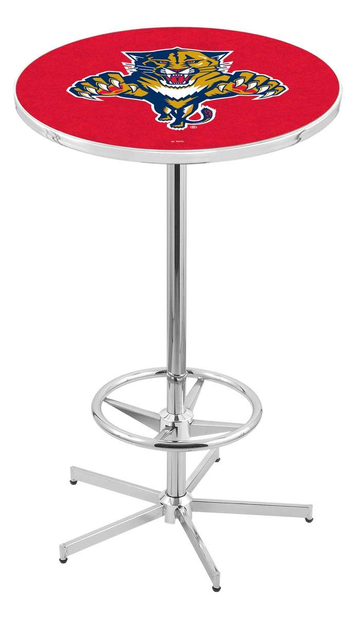 """42"""" Chrome Florida Panthers Pub Table with Foot Ring"""