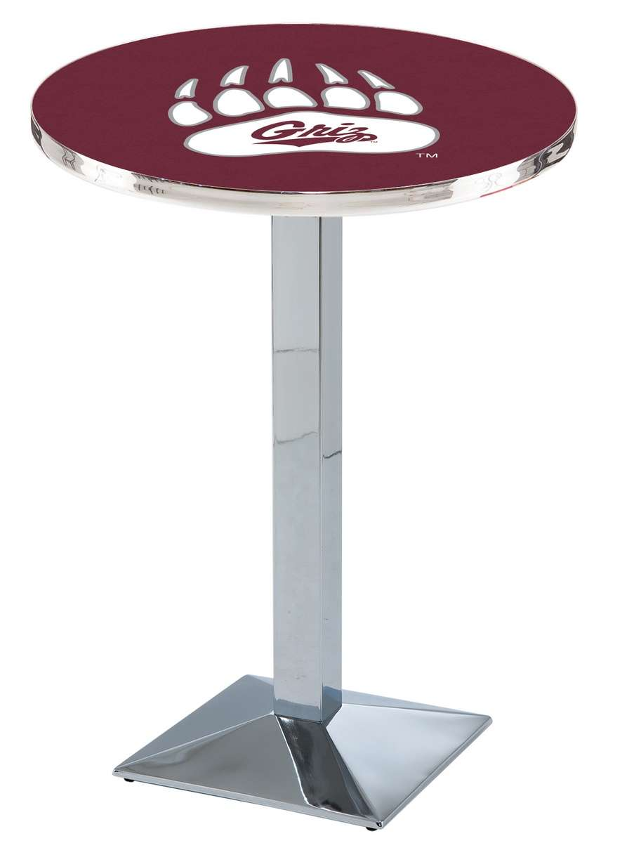 "36"" Chrome University of Montana Pub Table with Square Base"