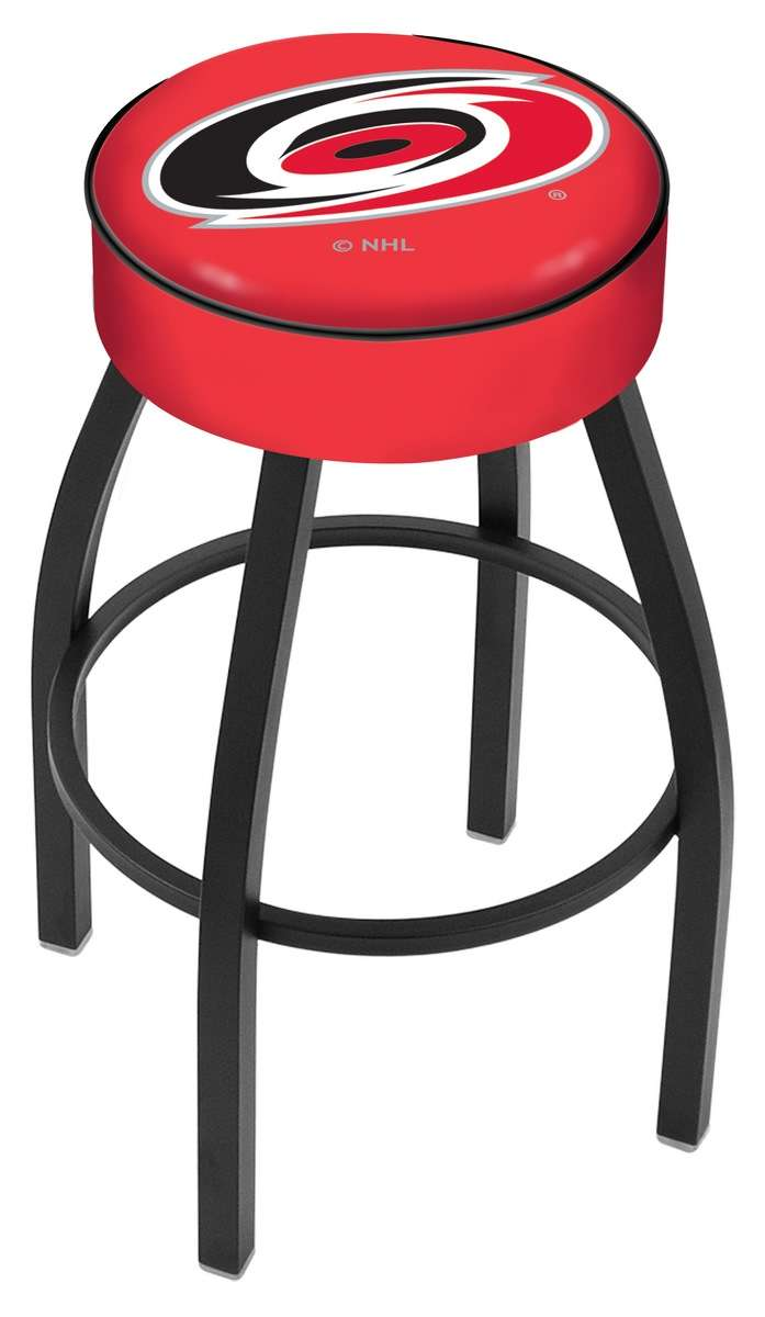 "25"" Carolina Hurricanes Cushion Seat Swivel Bar Stool with Black Wrinkle Base"