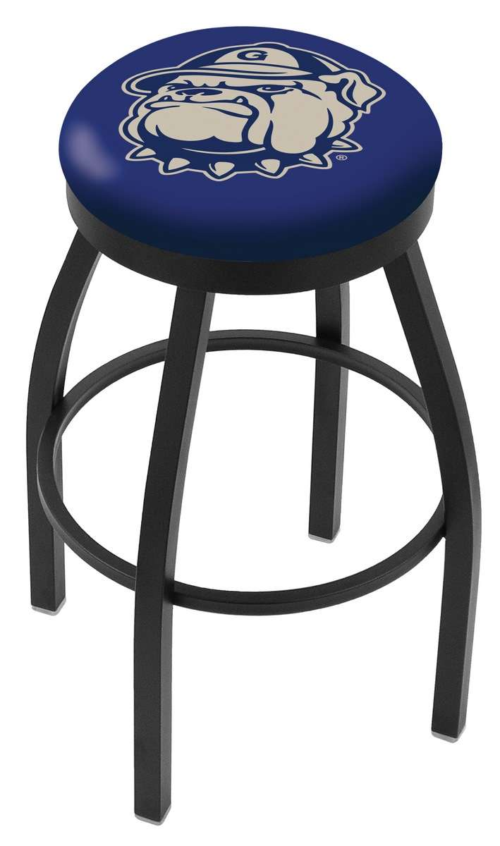 """25"""" Black Wrinkle Georgetown University Swivel Bar Stool with Accent Ring"""