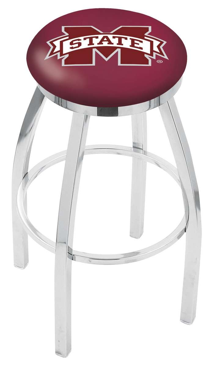"""30"""" Chrome Mississippi State University Swivel Bar Stool with Accent Ring"""