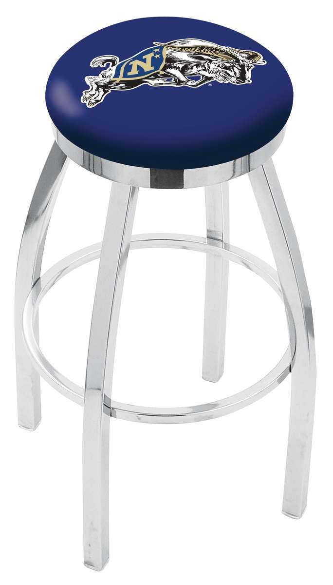 """30"""" Chrome US Naval Academy Swivel Bar Stool with Accent Ring"""