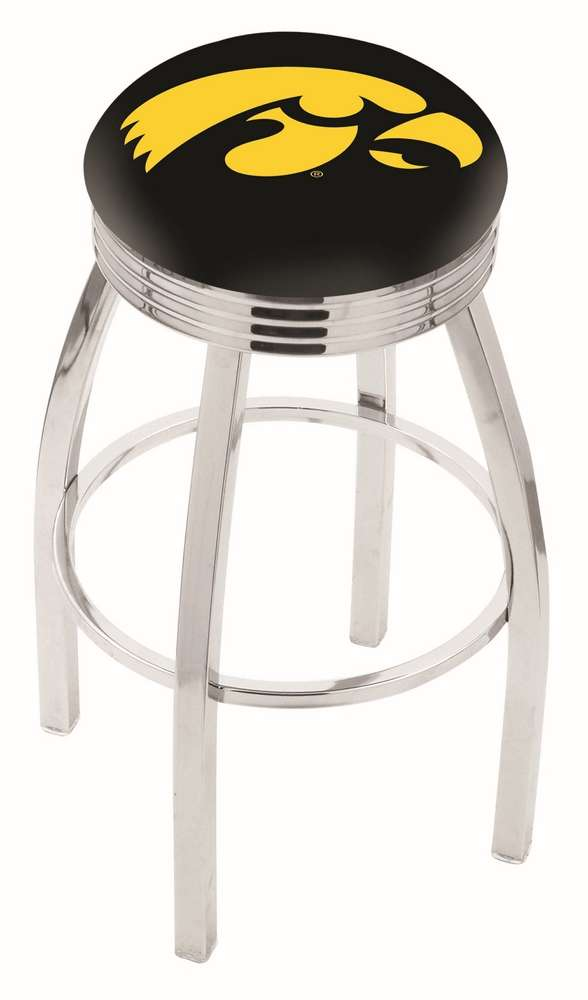 """30"""" Chrome University of Iowa Swivel Bar Stool with 2.5"""" Ribbed Accent Ring"""