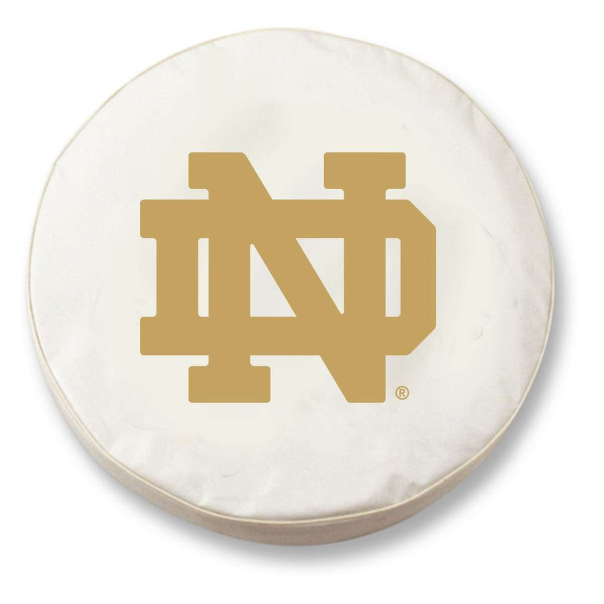 "37"" x 12.5"" White Notre Dame ""ND"" Vinyl Tire Cover"