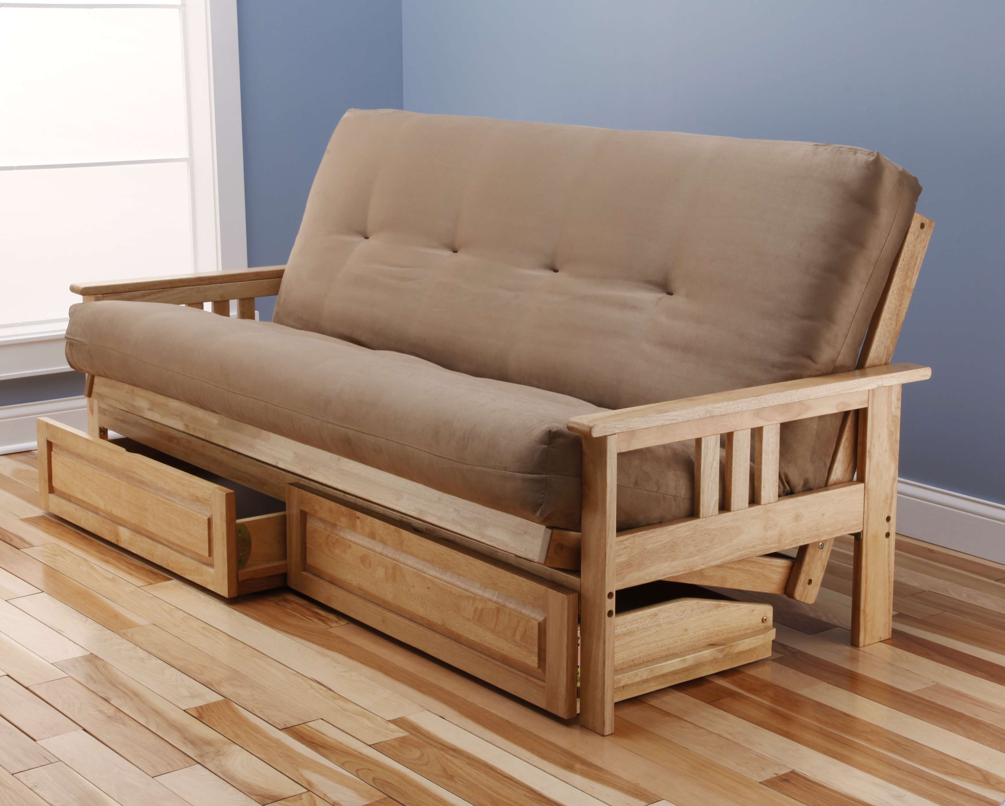 Monterey Natural Full Futon Frame with Suede Peat Mattress and Storage Drawers
