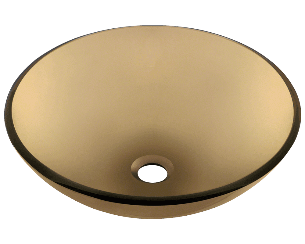 Taupe Colored Glass Round Vessel Sink