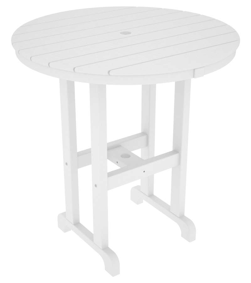 "La Casa Cafe White 36"" Round Outdoor Counter Table"