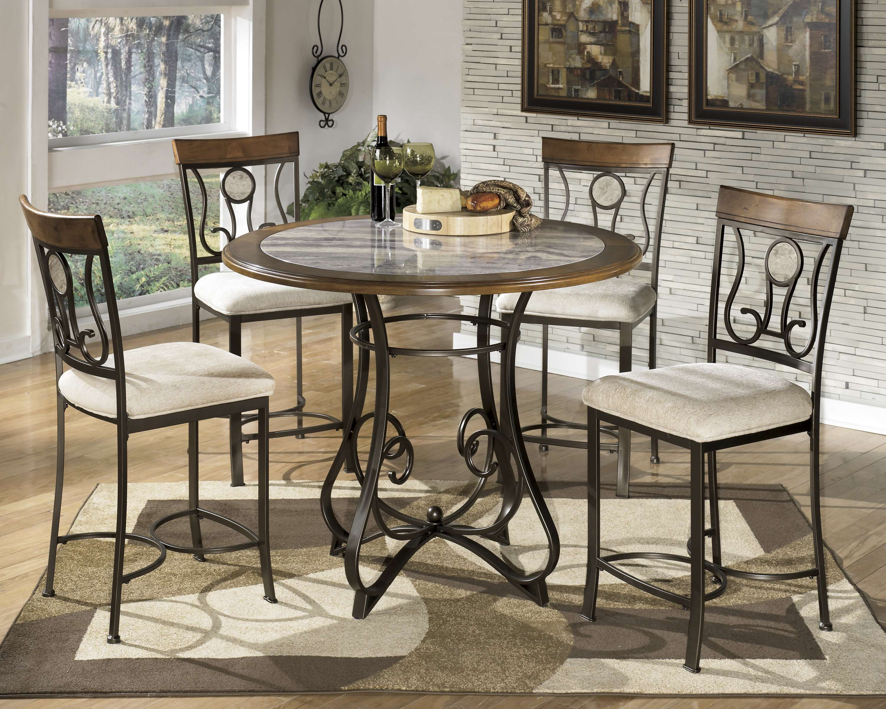 Hopstand Brown 5 Piece Dining Room Counter Table Set
