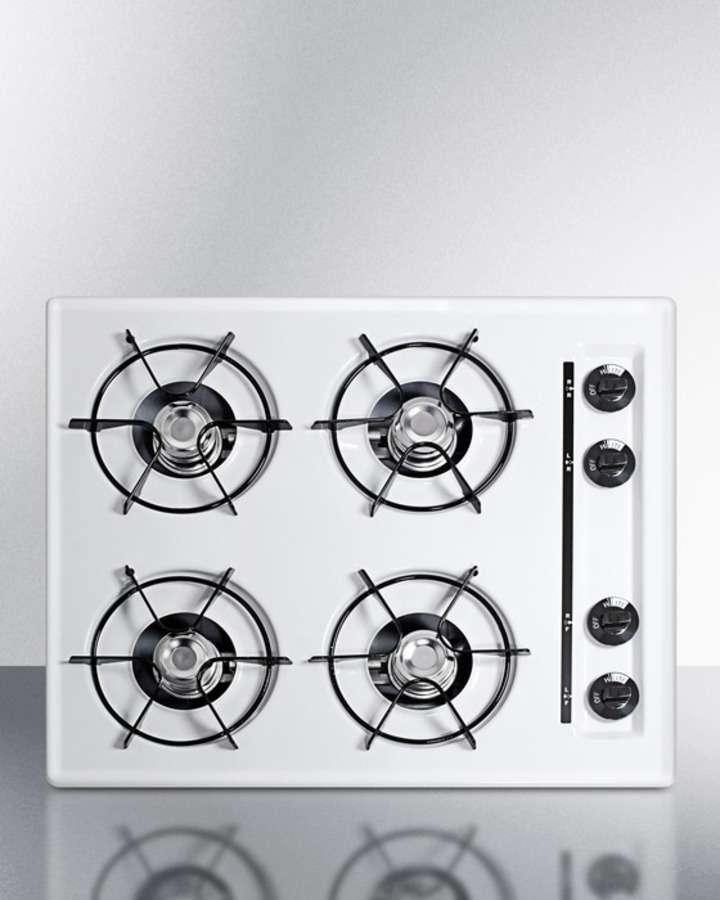 """24"""" White Gas Open Burner Cooktop"""
