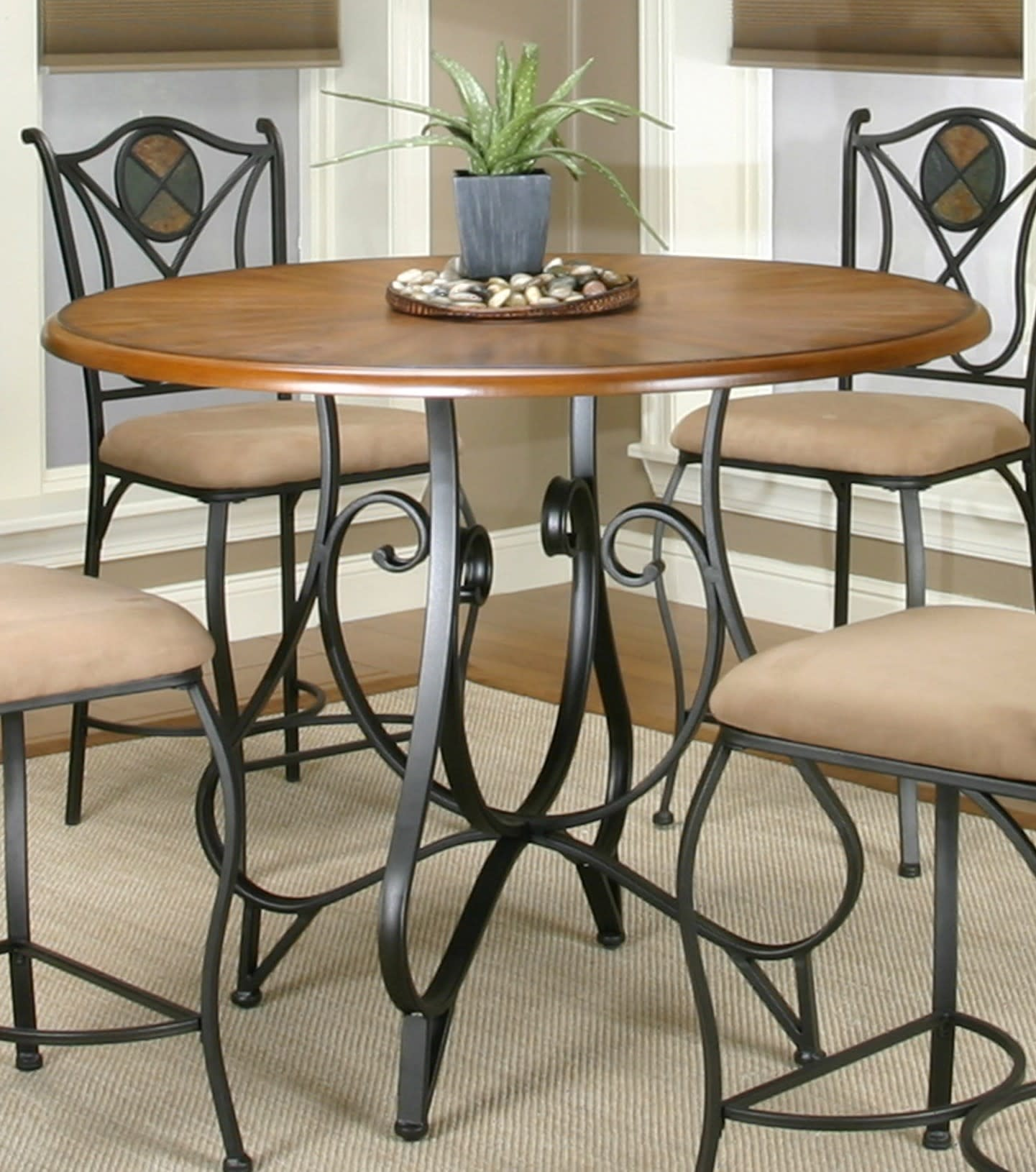 Vail Espresso Counter Height Dining Table with Distressed Rustic Medium Oak Top