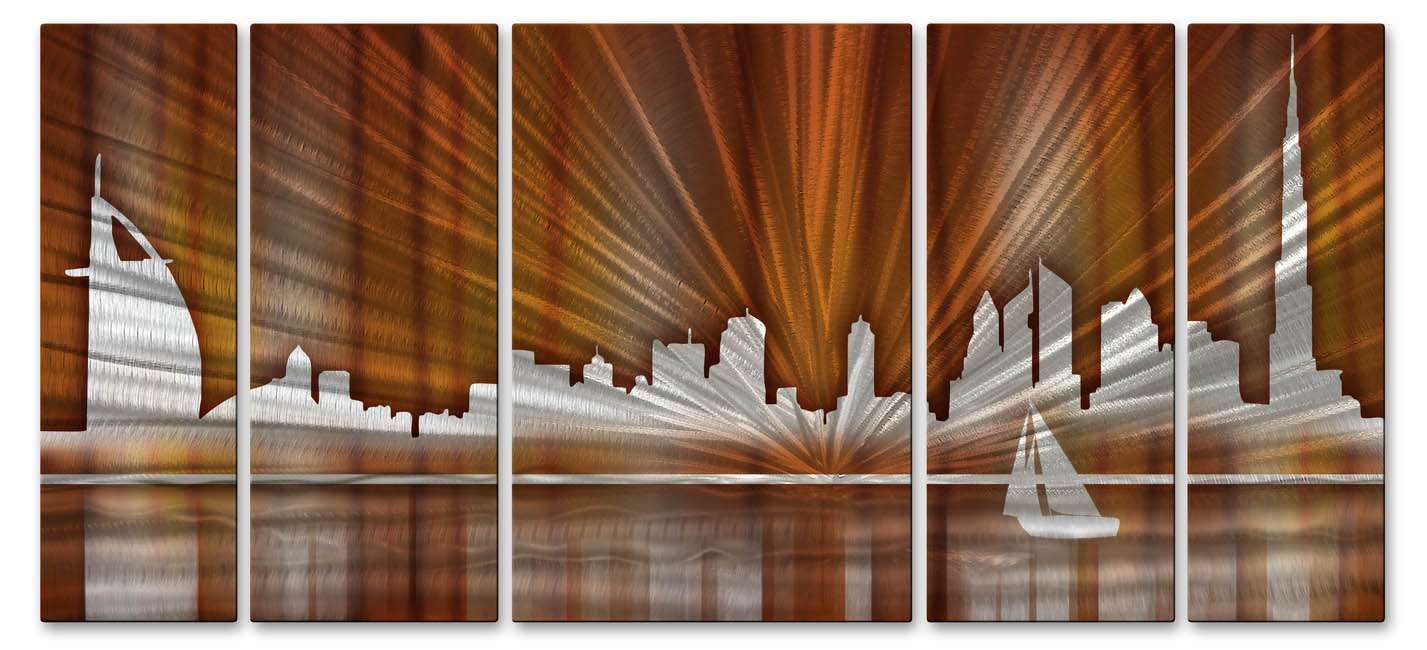 "23.5"" x 56"" ""Warm Dubai Skyline"" Metal Wall Art by Ash Carl"
