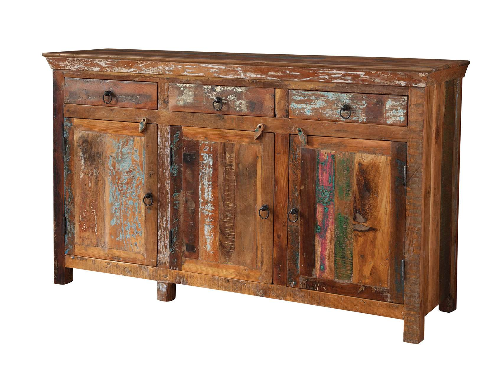 Reclaimed wood handcrafted accent cabinet with 3 drawers and 3 doors