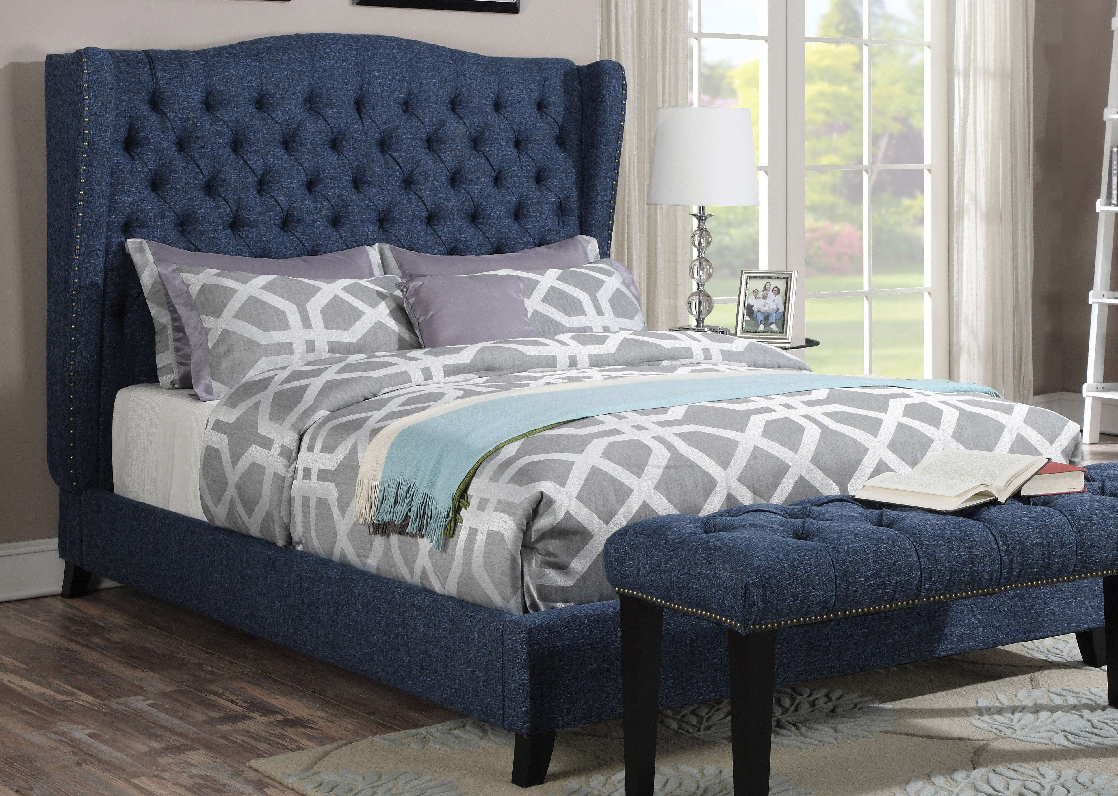 Faye blue linen eastern king wingback bed