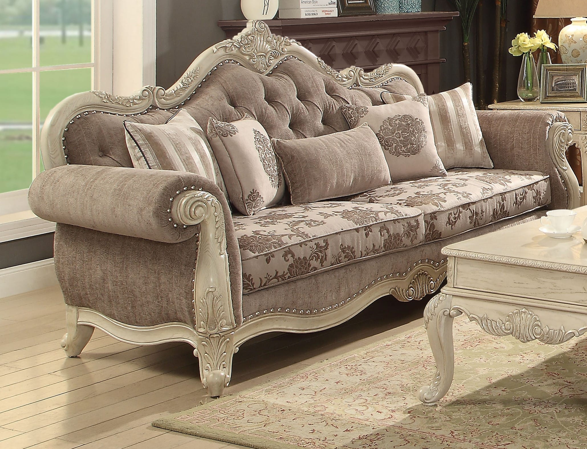 Incredible Acme Furniture Ragenardus Gray Fabric Antique White Sofa With 5 Pillows Reviews Goedekers Com Squirreltailoven Fun Painted Chair Ideas Images Squirreltailovenorg