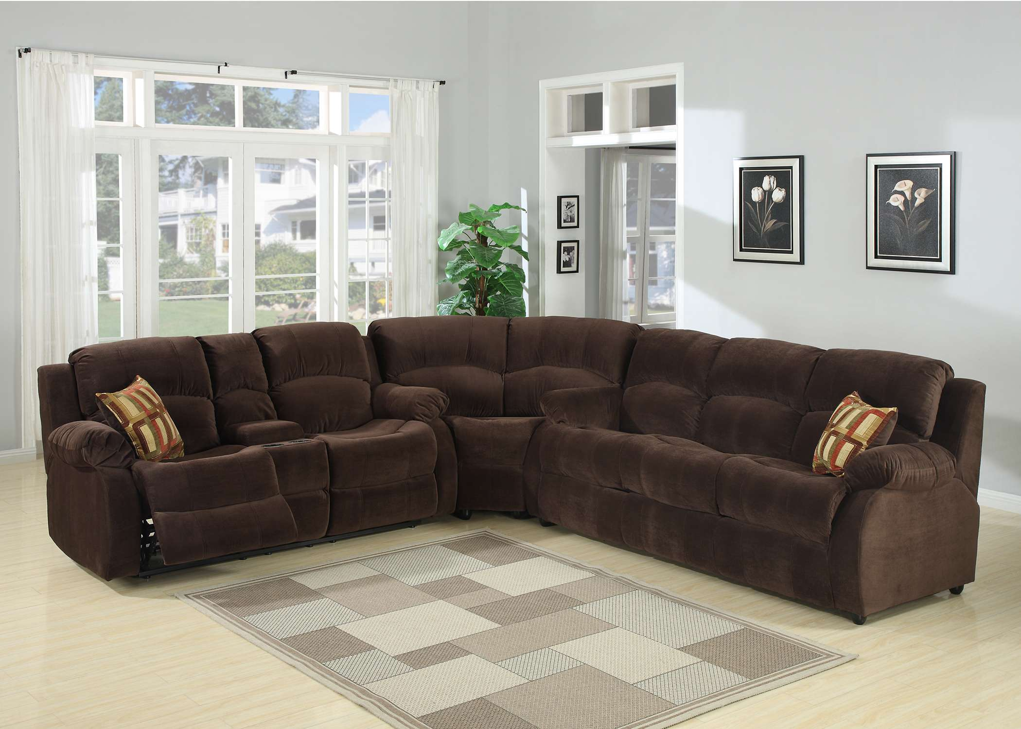 Tracey 3 Piece Transitional Sectional With Queen Sofa Bed And Reclining  Love Seat With Storage
