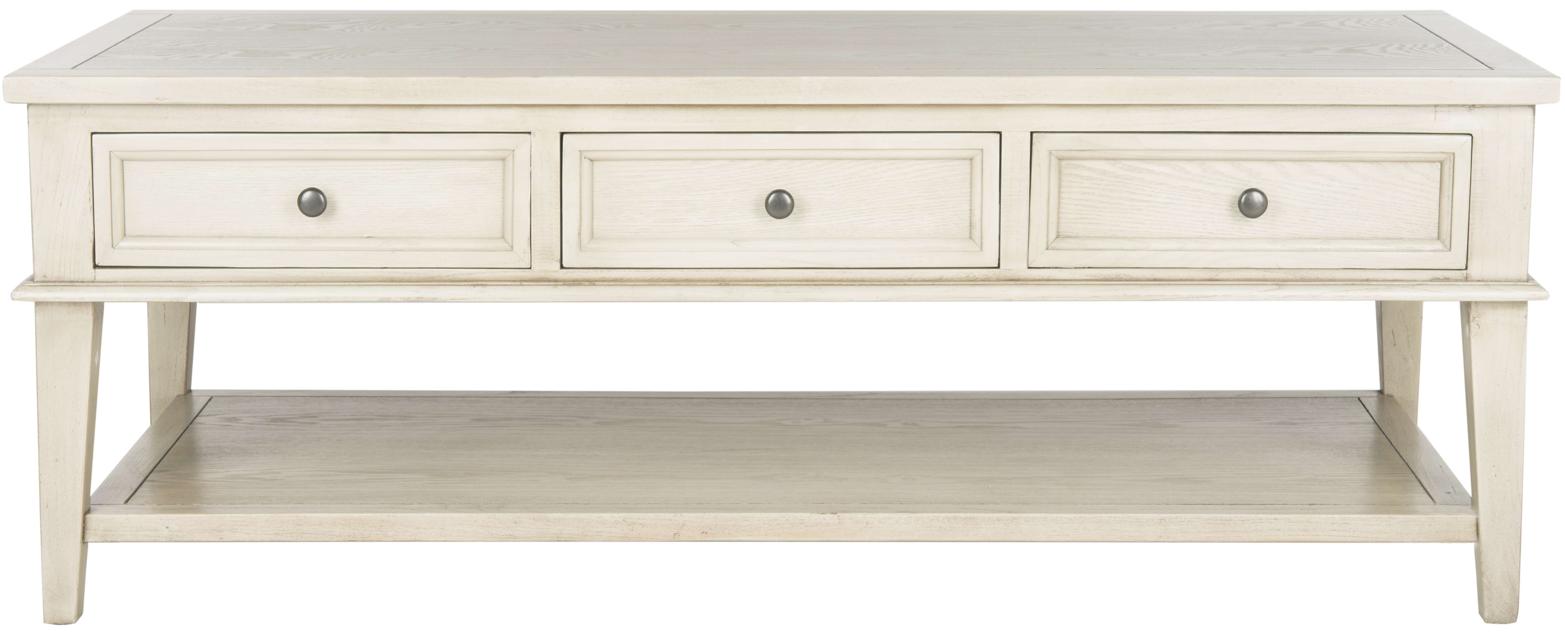 Beau Manelin White Wash Coffee Table With 3 Storage Drawers