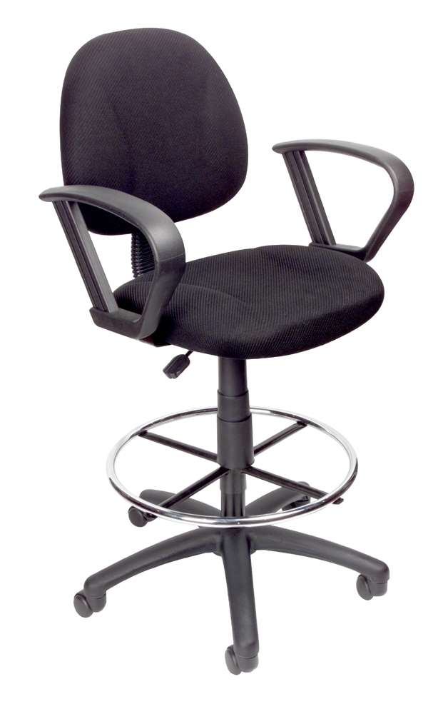 Boss Office Products Black Drafting Stool With Loop Arms