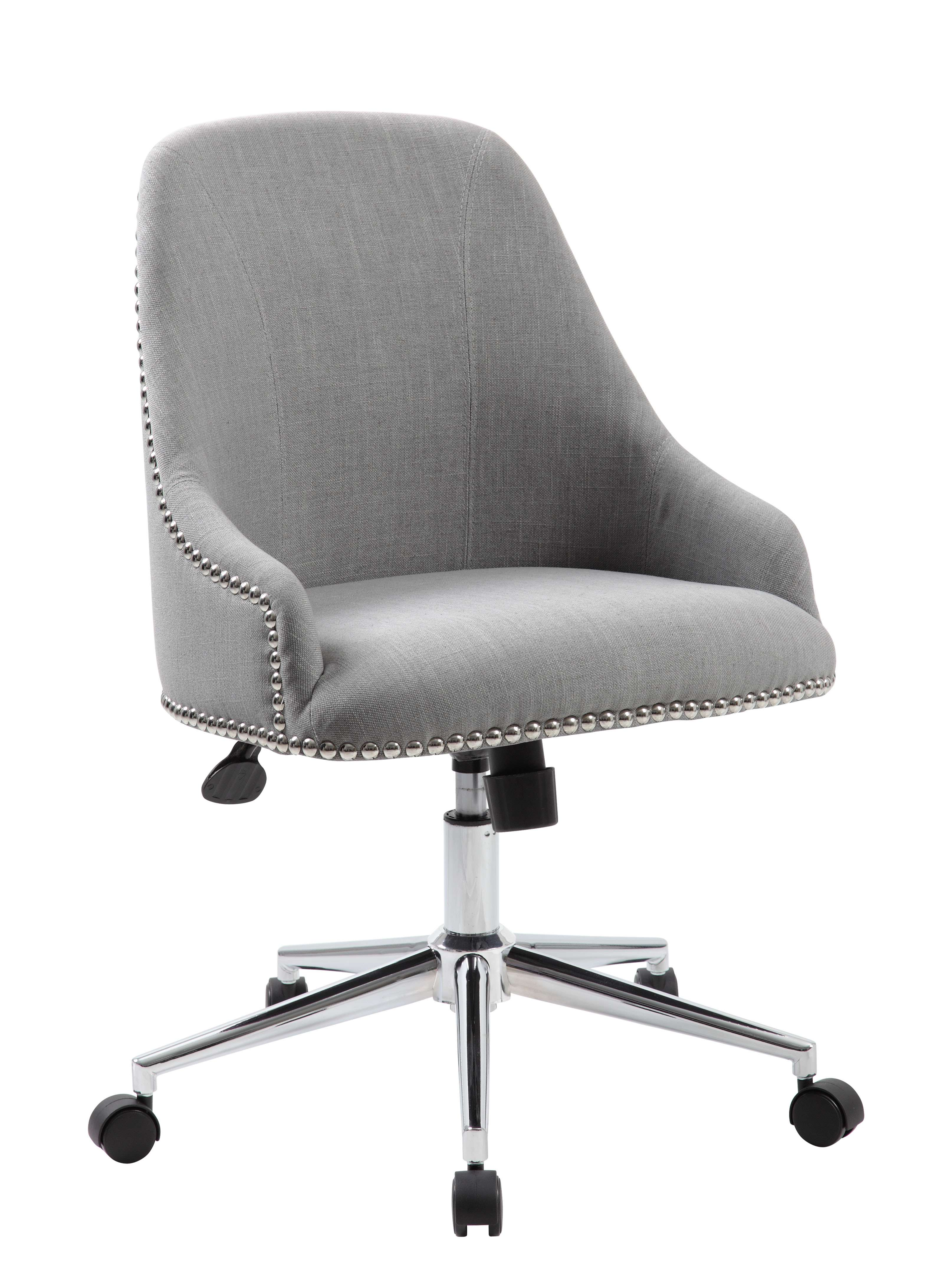 Boss Office Products B516C GY. Carnegie Gray Desk Chair In Chrome Finish