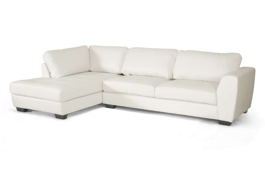 Baxton Studio Orland White Leather Modern Sectional Sofa With Left ...