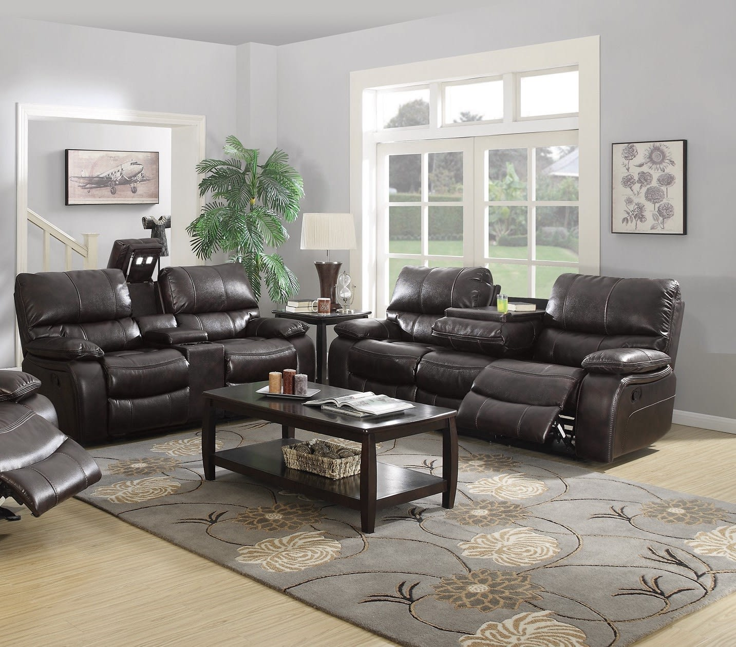 Willemse two tone dark brown motion 2 piece living room set