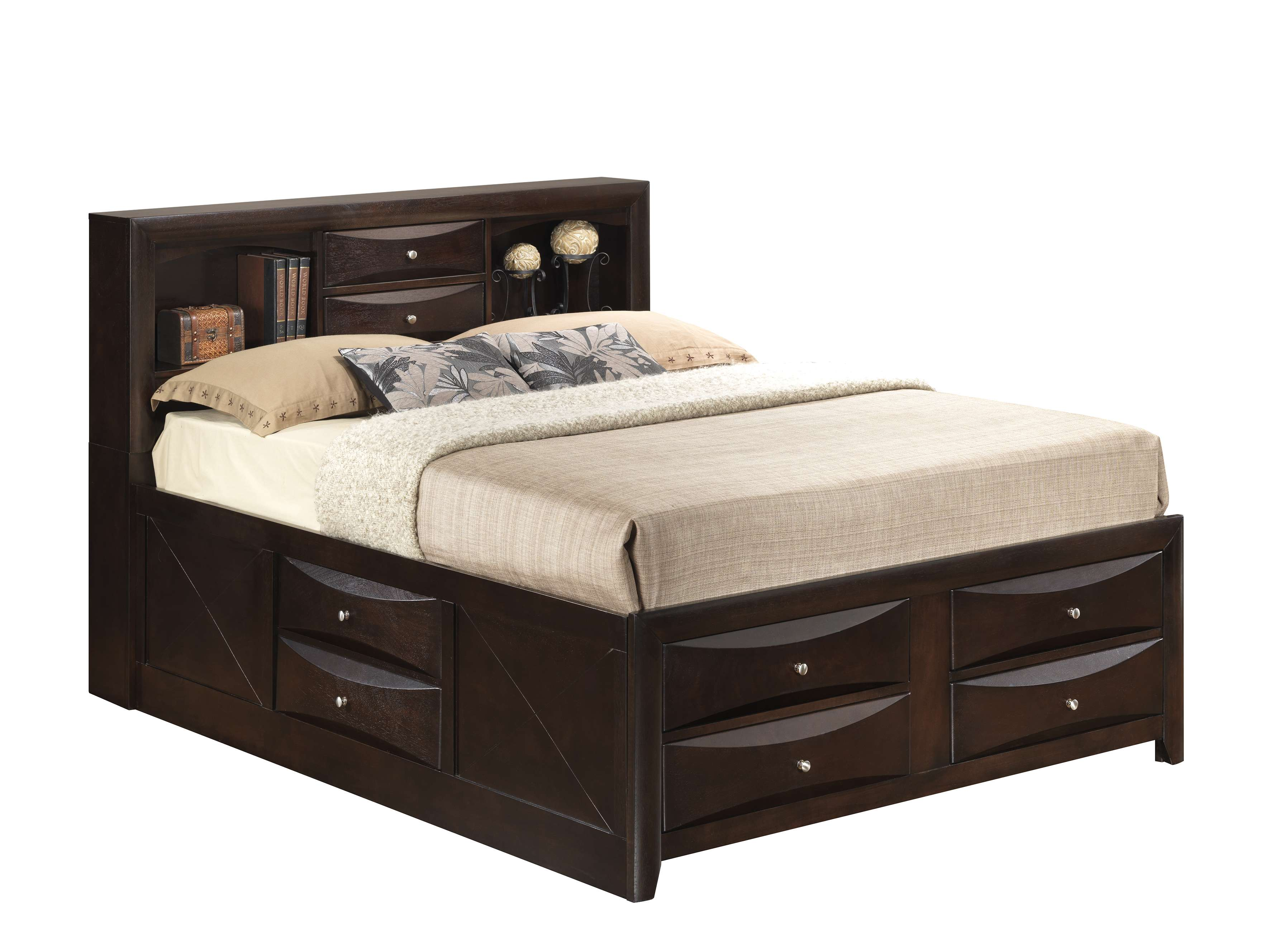 Glory Cappuccino Full Storage Bed With Bookcase Headboard Reviews Goedekers Com