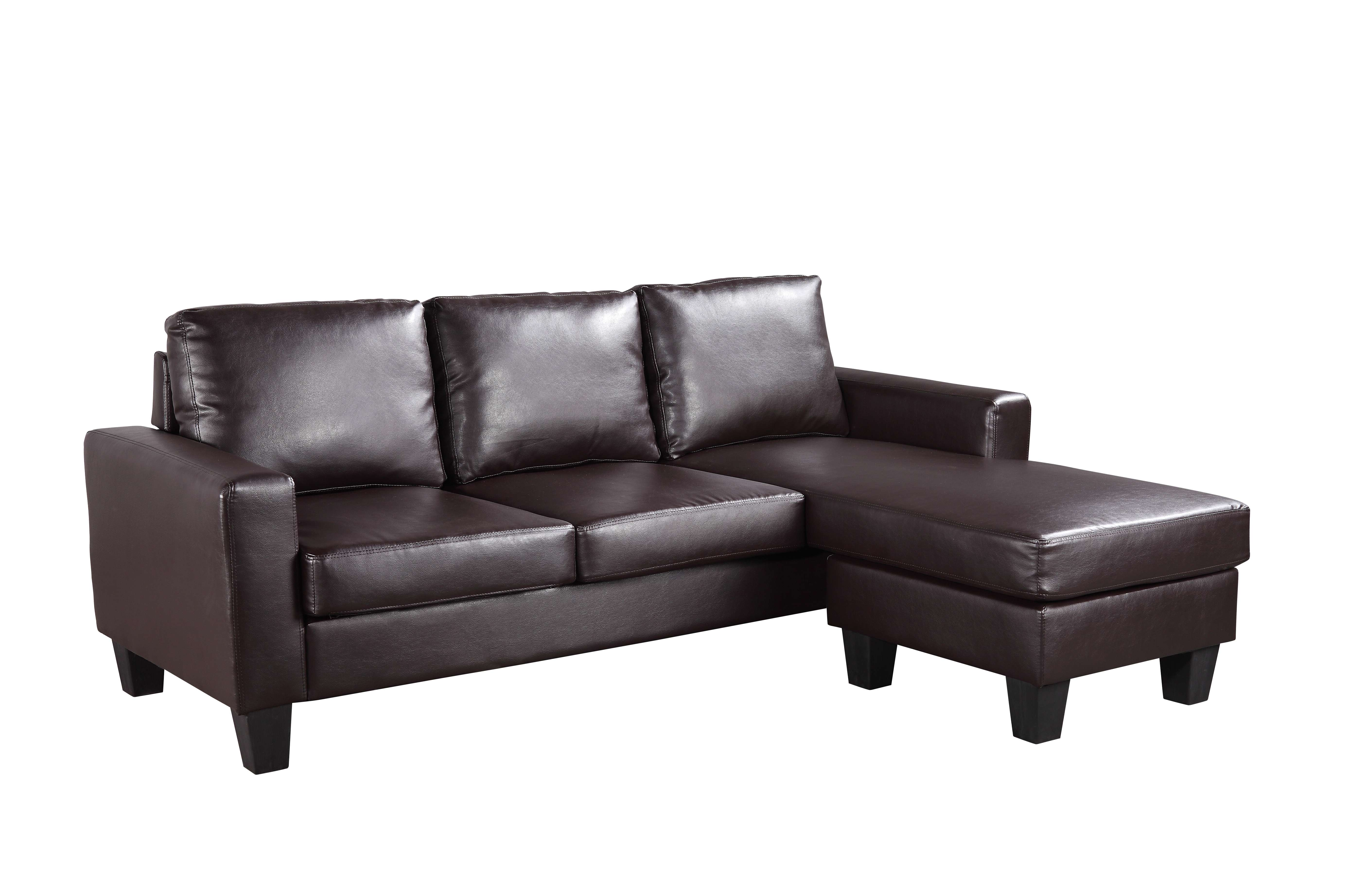 Glory Cappuccino Faux Leather Sofa Chaise & Reviews - Goedekers.com