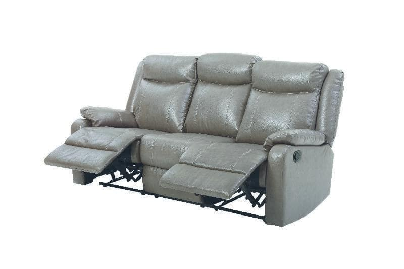 Glory Gray Faux Leather Double Reclining Sofa & Reviews - Goedekers.com