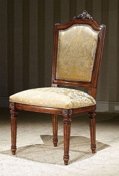 Incroyable Louis Walnut U0026 Gold Armless Side Chair