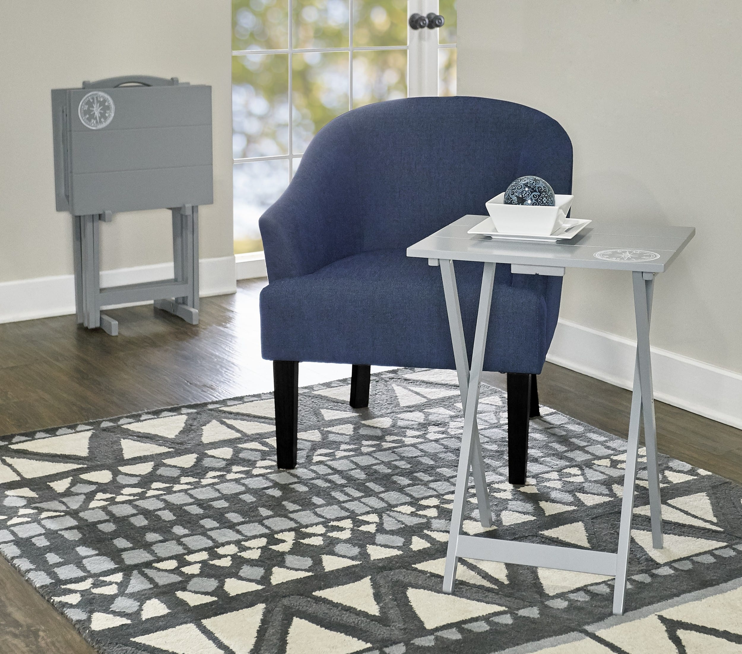 Compass Gray Tray Table 5 Piece Set