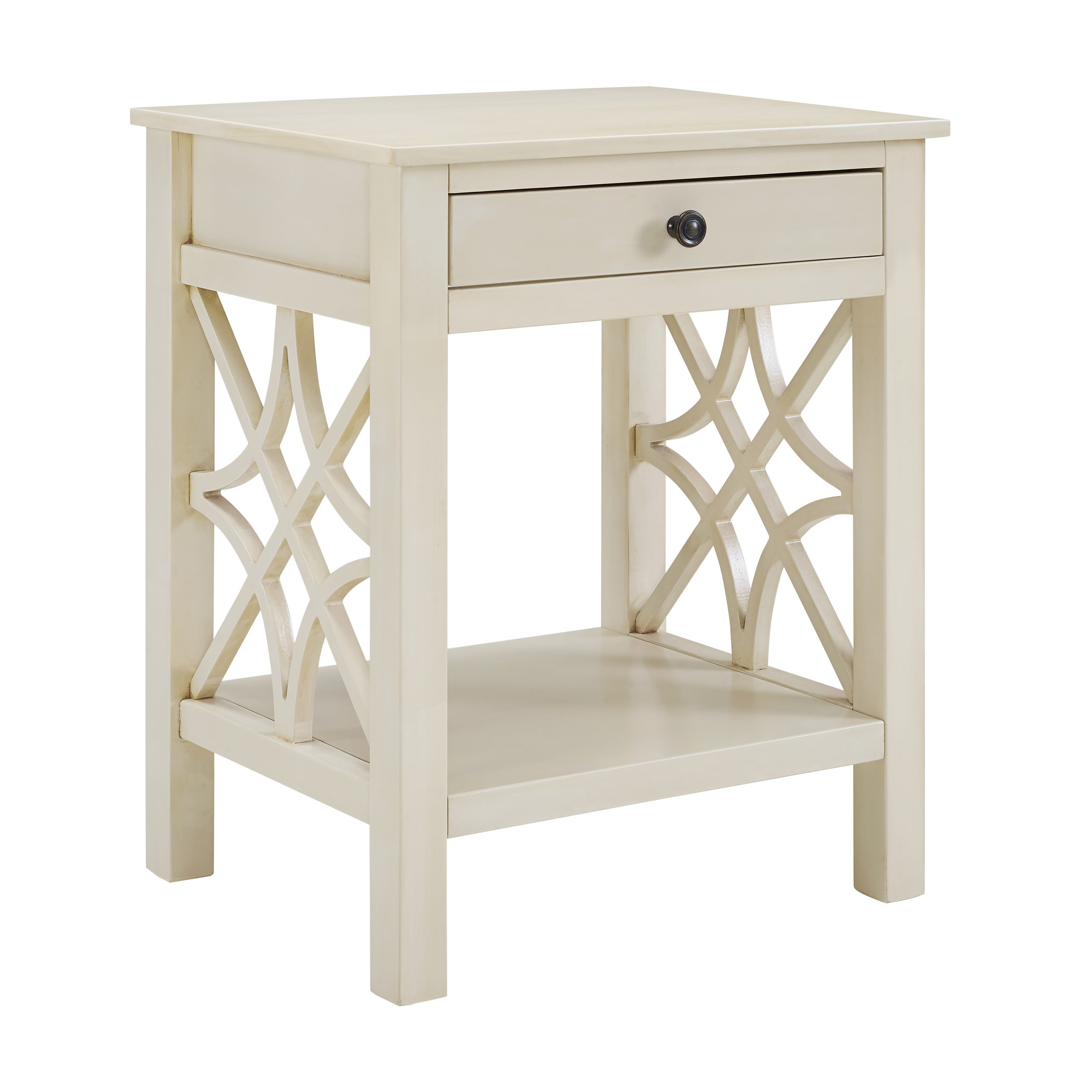 Linon Home Decor Products Inc WM129WHT01U Whitley Antique White End Table