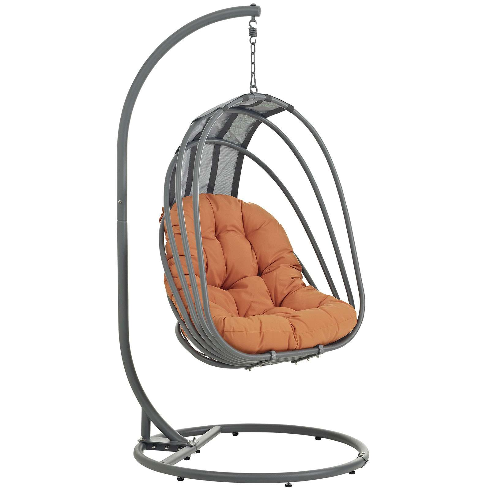 Whisk Orange Patio Swing Chair With Stand