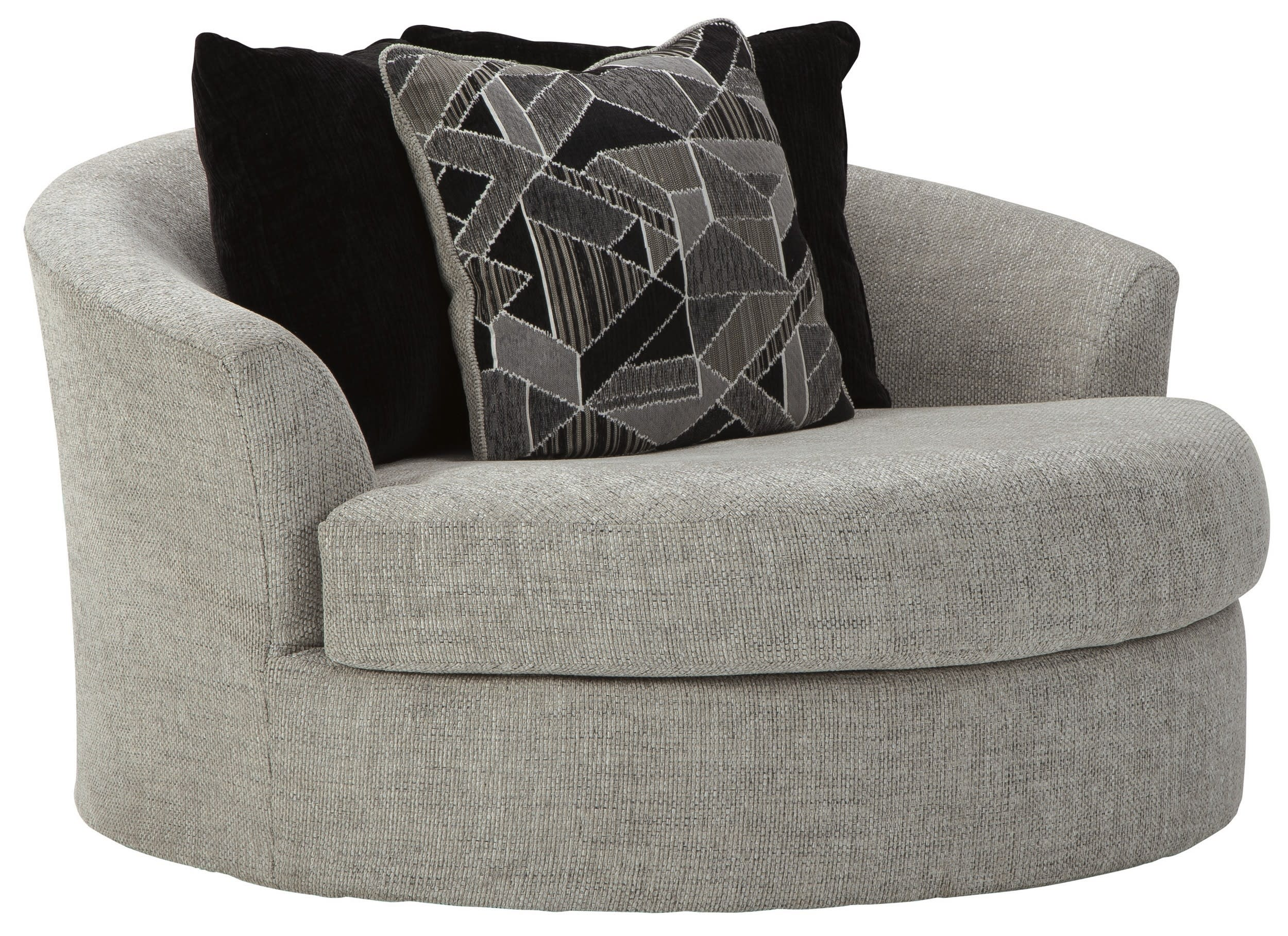 Signature Design By Ashley Megginson Storm Oversized Round Swivel Chair Reviews Goedekers Com