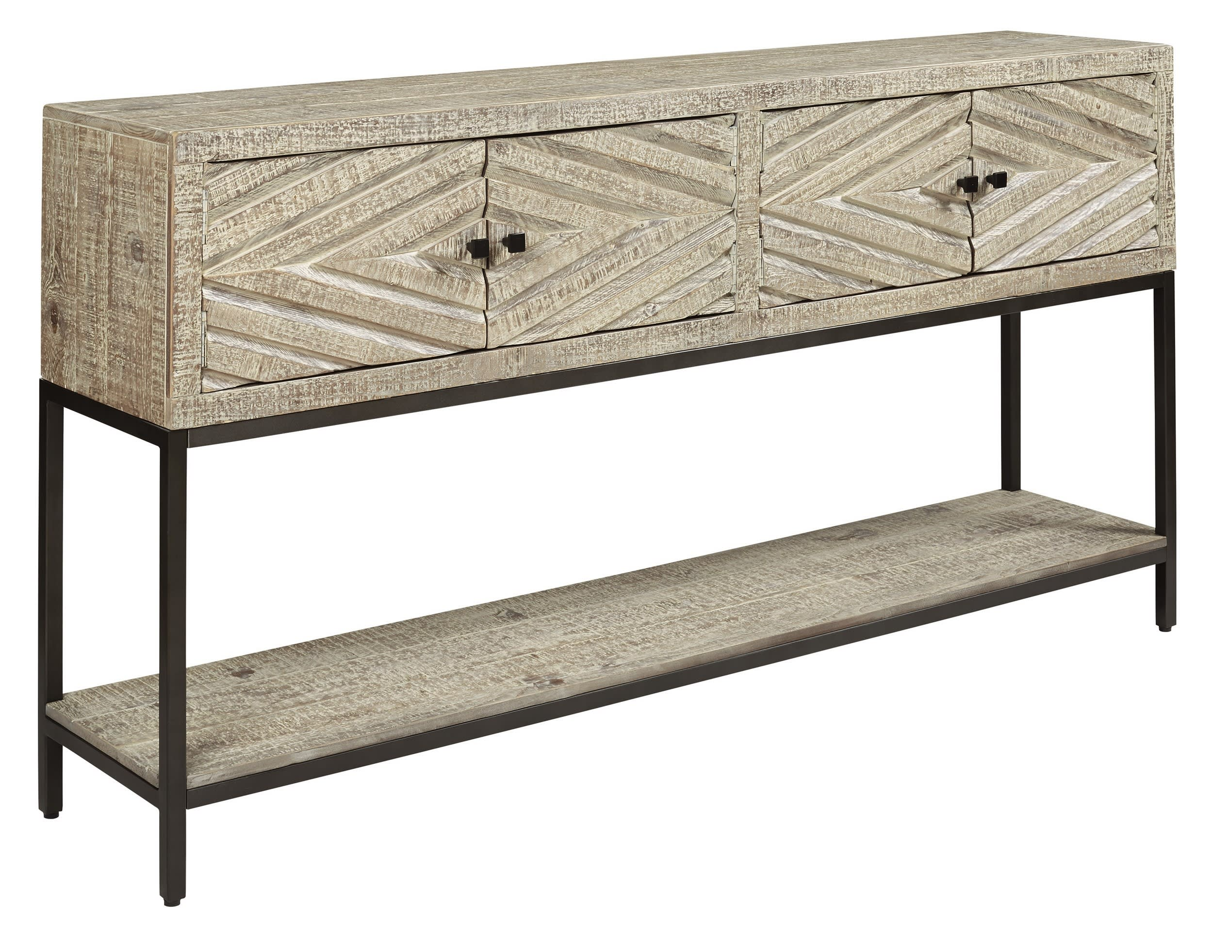 Signature Design By Ashley Roanley Distressed White Console Sofa Table Reviews Goedekers Com