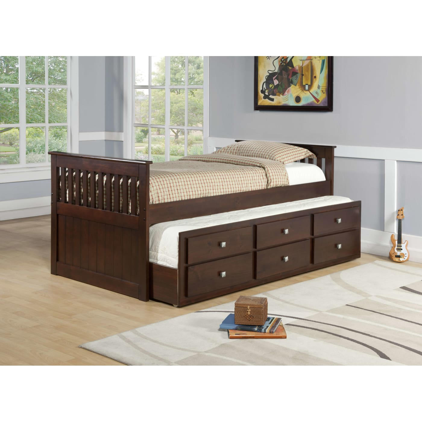 Donco Trading Company Dark Cappuccino Twin Captain S Bed With