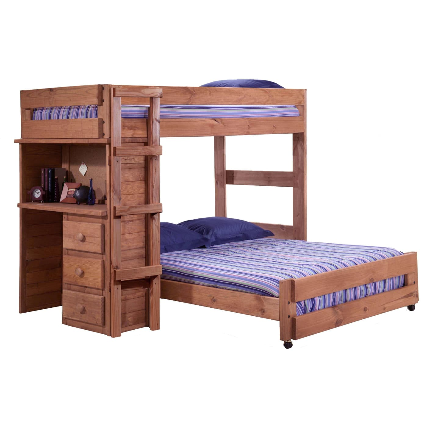 Includes Slat Pack S Furniture Colors May Vary Based On Computer Monitor And Room Lighting Gany Stain Twin Over Full Loft Bed With Desk End