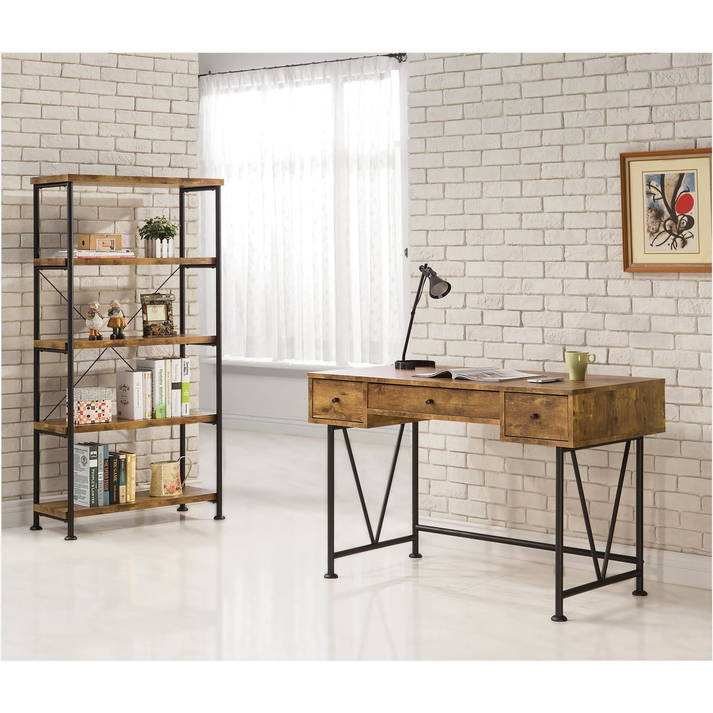 Barritt Antique Nutmeg Computer Desk With Bookcase 2 Piece Set