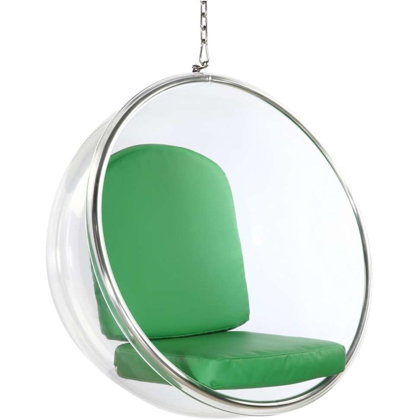 Fine Mod Imports Green Bubble Hanging Chair with Clear Acrylic Frame ...