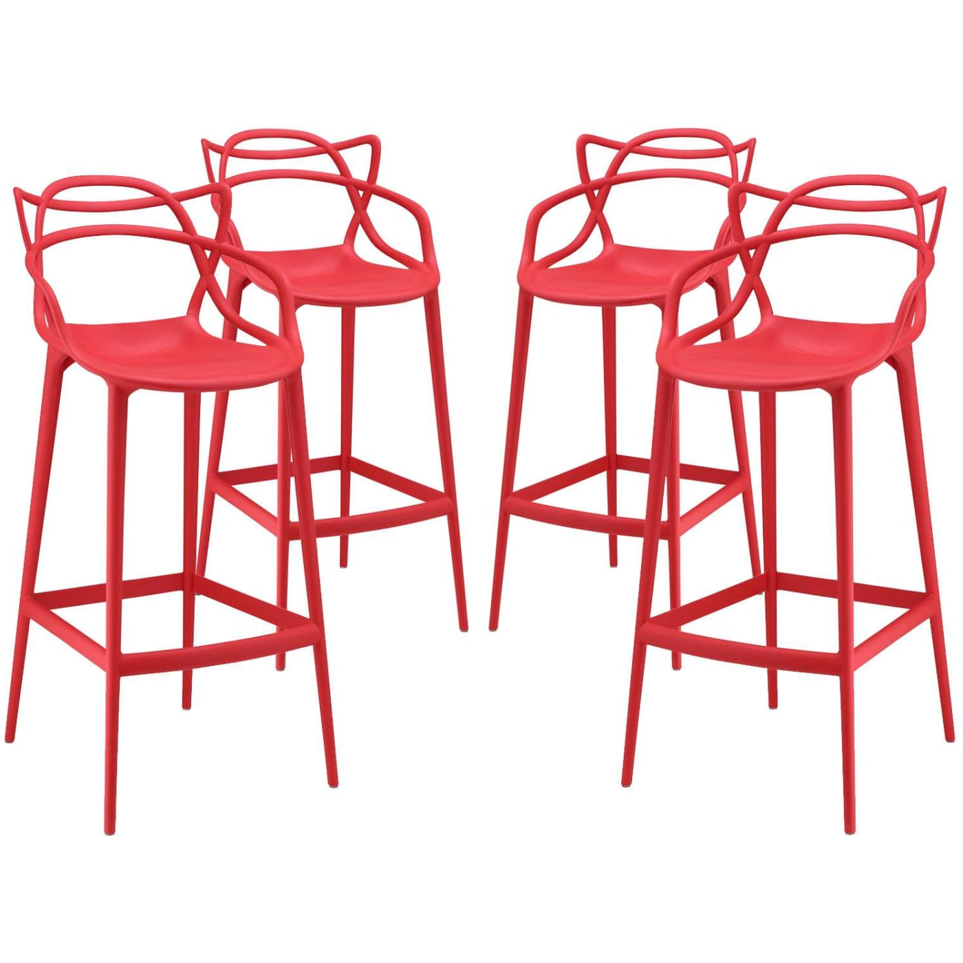 Modway Entangled Red Bar Stool Set Of 4 Reviews Goedekers Com