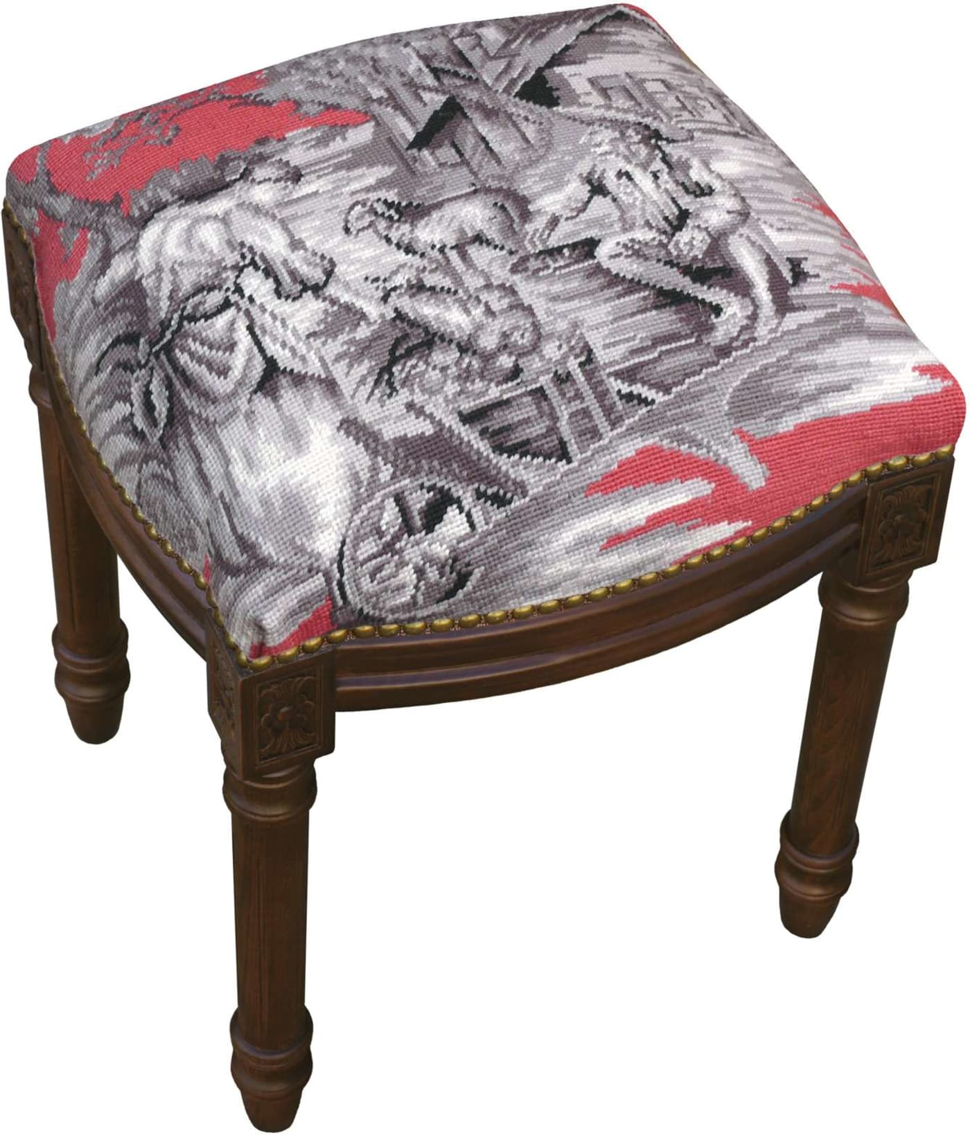 123 Creations Country Toile Wool Needlepoint Vanity Stool
