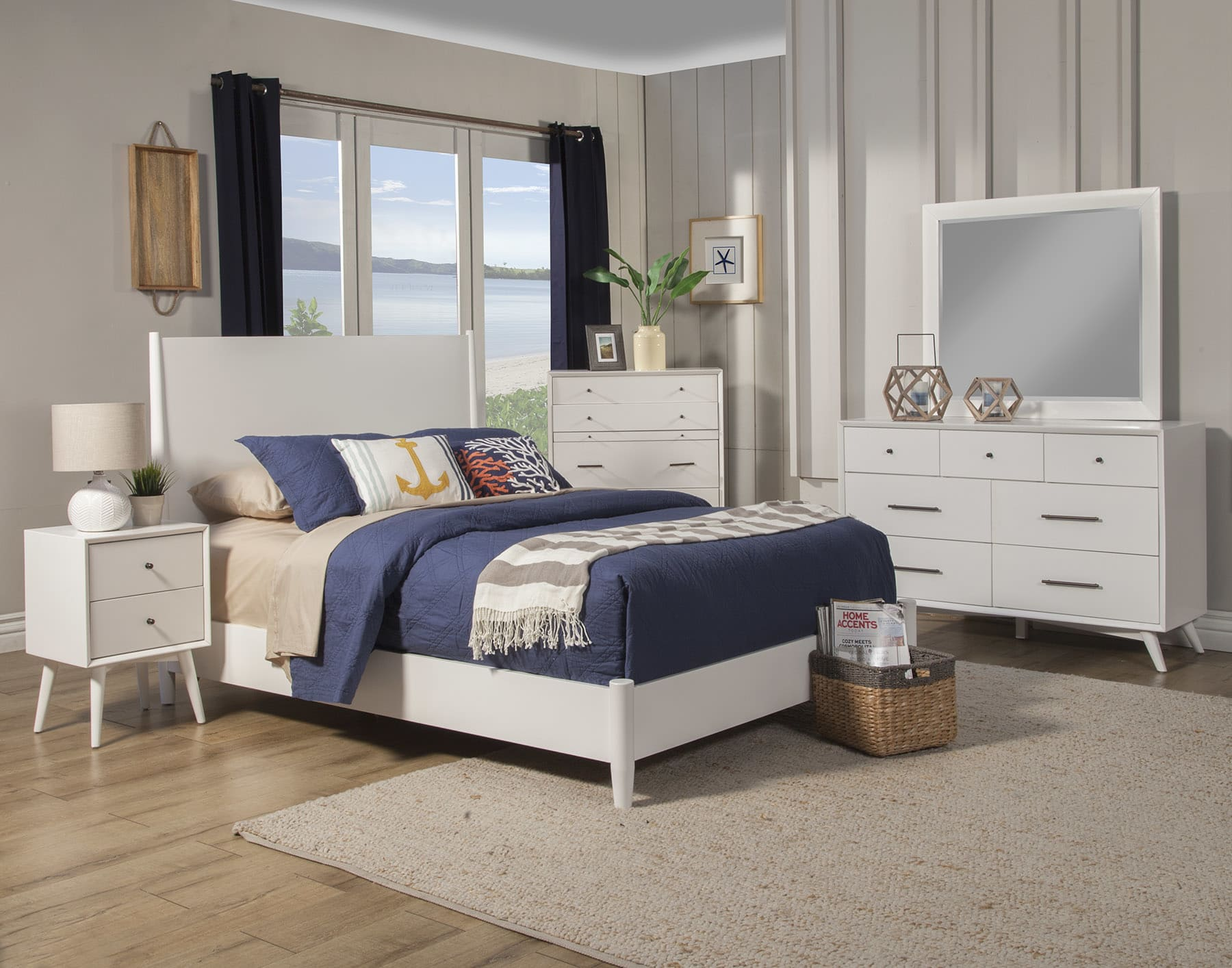 Astonishing Alpine Flynn White Mid Century Modern King 5 Piece Bedroom Set Reviews Goedekers Com Inzonedesignstudio Interior Chair Design Inzonedesignstudiocom