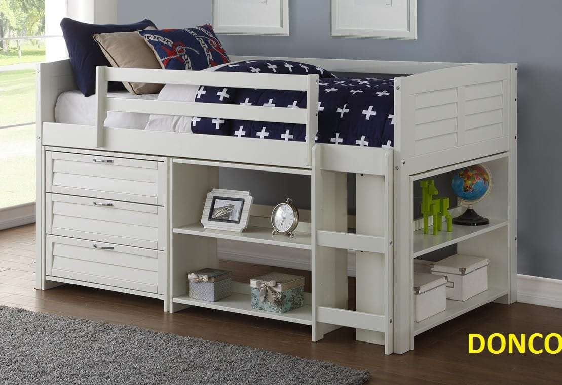 Superb Donco Trading Company Louver White Twin Modular Low Loft Bed Combo B 4 Piece Set With Small Bookcase Reviews Goedekers Com Download Free Architecture Designs Grimeyleaguecom